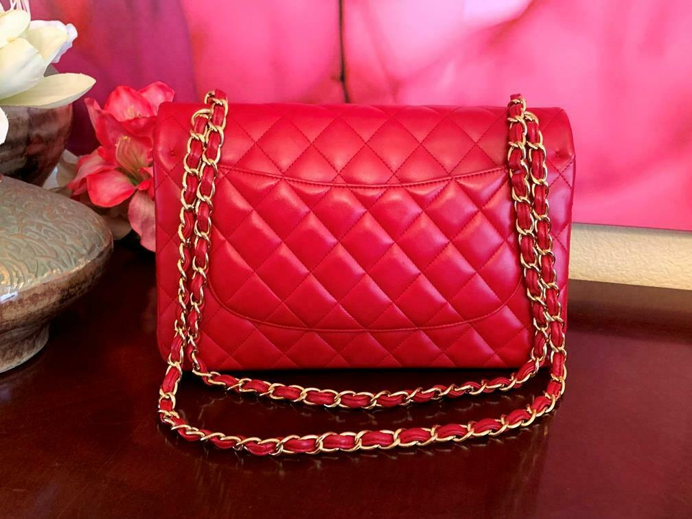 Authentic Chanel Classic Jumbo Red Lambskin Doubl… - image 2