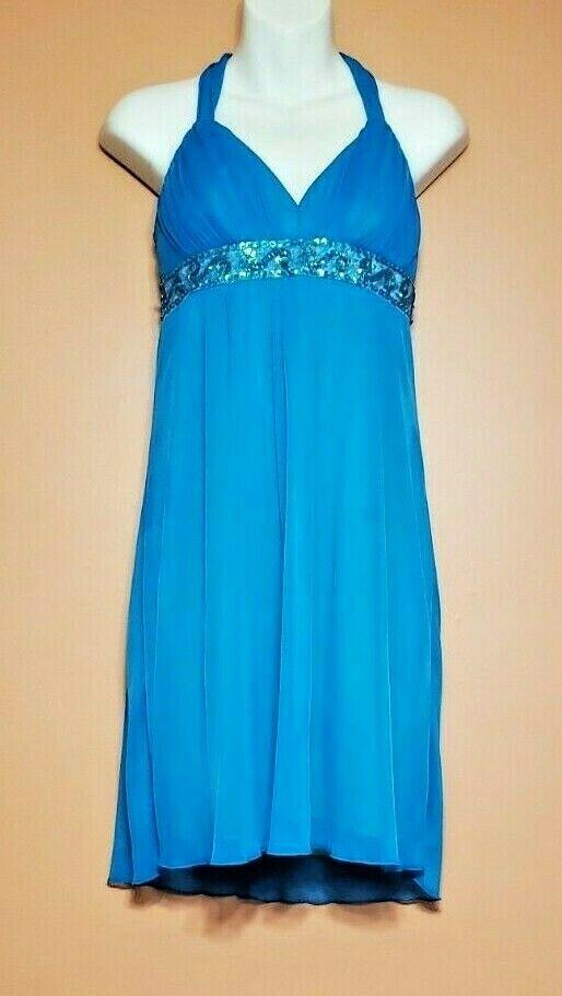 City Triangles Short Formal Halter Chiffon Dress w/ Beads & Sequins Juniors Med