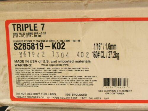 """60//lbs Triple 7 HOBART TRI-MARK Flux-Core Carbon Steel 1//16/""""Welding Wire16/""""Spool"""