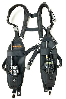 X-FIRE MOLLE Tactical Chest Pack Bag with Dual Radio Pockets and Antenna Ports