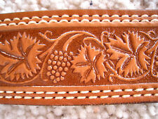 Vintage TEXTAN Western Tooled Texan Leather Belt 34 Tan HIPSTER Cowboy USA