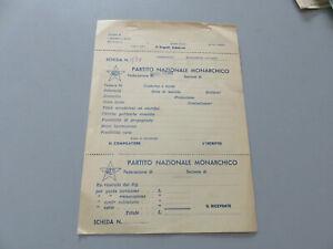 Party National Monarchico - Full Sheet Bollettario Receipt Membership
