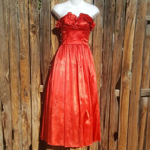 Vintage Gunne Sax Red Rose Southern Belle Ruffle S