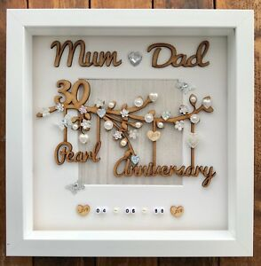 Details about Handmade Personalised Pearl 8th Wedding Anniversary Gift  Frame Mum and Dad
