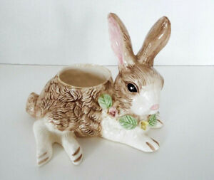 Vintage-Ceramic-Rabbit-Planter-Holland-Floral-1994-Bunny-Vase-9-x-7-Porcelain