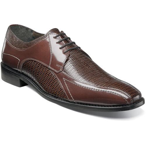 Stacy Adams GRAZIANO 25049-221 Mens Cognac Leather Dress Bike Toe Oxford Shoes