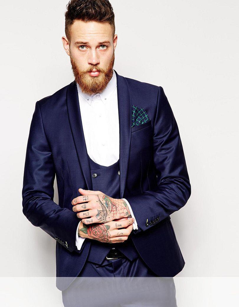 Navy bluee Man Suit  Shawl Lapel Groom Tuxedos Groomsman Suit Tailor Suit Blazer