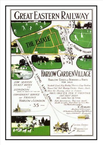Harlow Garden Villiage Railway Vintage Retro Oldschool Old Good Price Poster