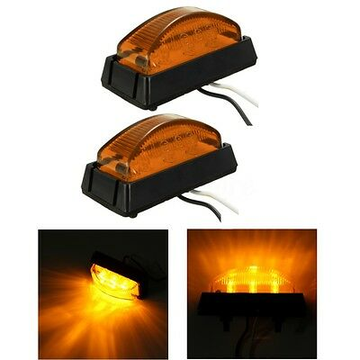 2x 6 LED Amber Side Marker Light Lamp Bus Truck Trailer Lorry Caravan 12/24V E4