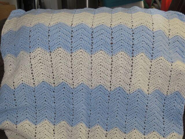 New! Handmade Crochet Blanket Lap Afghan baby boy blanket  - light blue, ecru