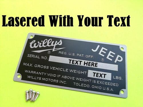 YOUR OWN TEXT Rivets Car  VIN Plate Identification Tag for Willys Jeep