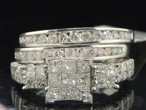 Details About 3 Piece Diamond Bridal Set White Gold Princess Engagement Wedding Ring 1 5 Ct