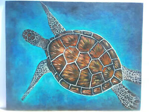 Original-Acrylic-Painting-Sea-Turtle-Marine-Life-16x20-Canvas-Board-Beach-Art