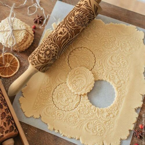 Wooden Rolling Pin Embossing Baking Cookies Noodle Biscuit Fondant Christmas NEW