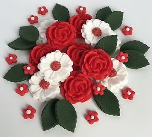 Image Is Loading Red White Wedding Roses Bouquet Cake Decorations Sugar