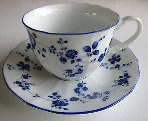 Noritake Elegance In Blue Tea Cup and Saucer Set Floral White