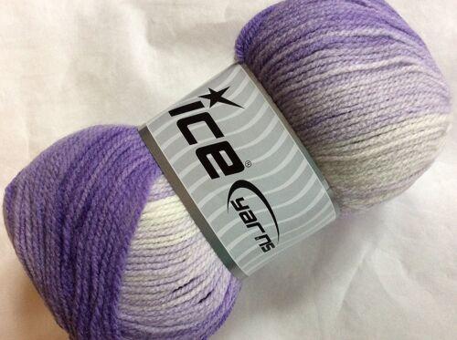 100 Gram Magic Light #22023 Purple Lavender White ICE DK Acrylic Yarn 393 Yards
