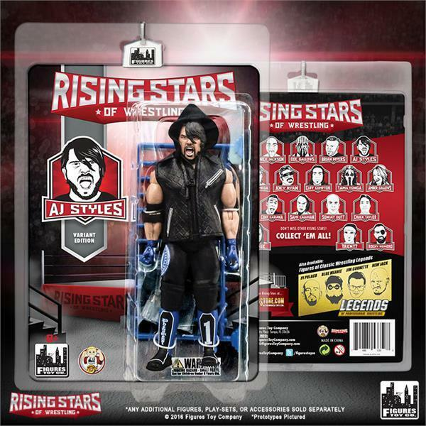 Cargraphed AJ Styles Variant Edition Rising Stars Figure, Blau Figures Toy Co