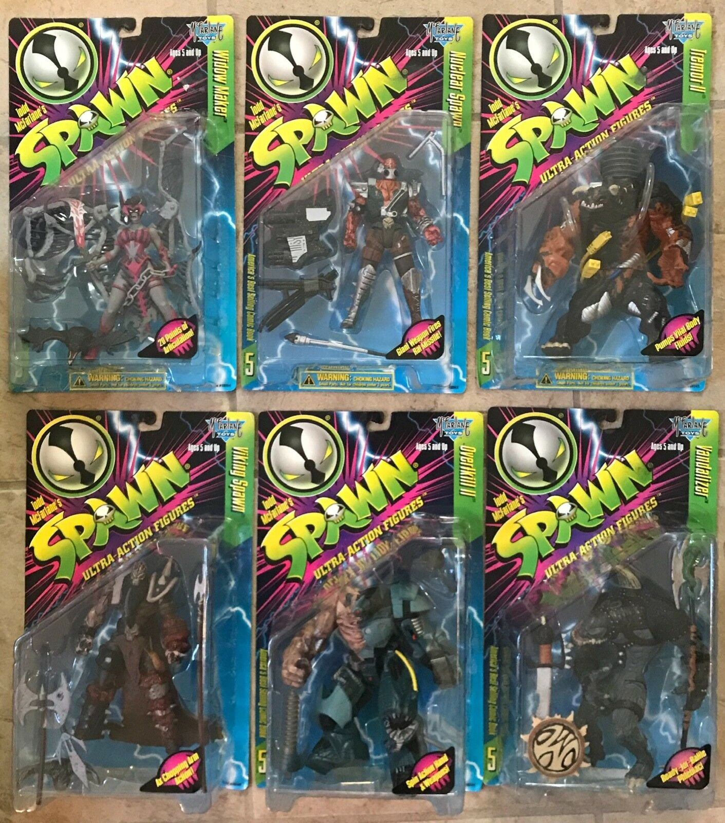 SPAWN Series 5 Complete Set of 6 Ultra Action Figures MOC 1996 McFarlane