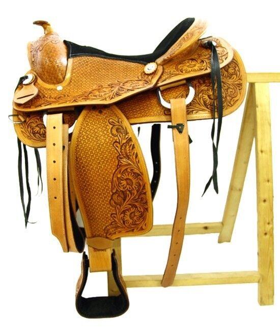 Western sillín miami de cuero de búfalo de alta calidad Reining sillín nuevo