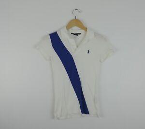 Women-039-s-Ralph-Lauren-Sash-Diagonal-Stripe-Polo-Blue-amp-White-Shirt-Size-XS
