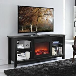 Electric Fireplace Media Center Console Tv Stand Entertainment Black