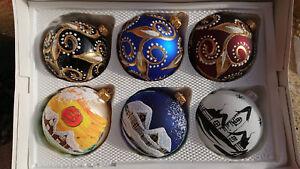 Christbaumkugeln Rosegold.Details About Handpainted Christmas Baubles Glas Weihnachtskugeln Christbaumkugeln