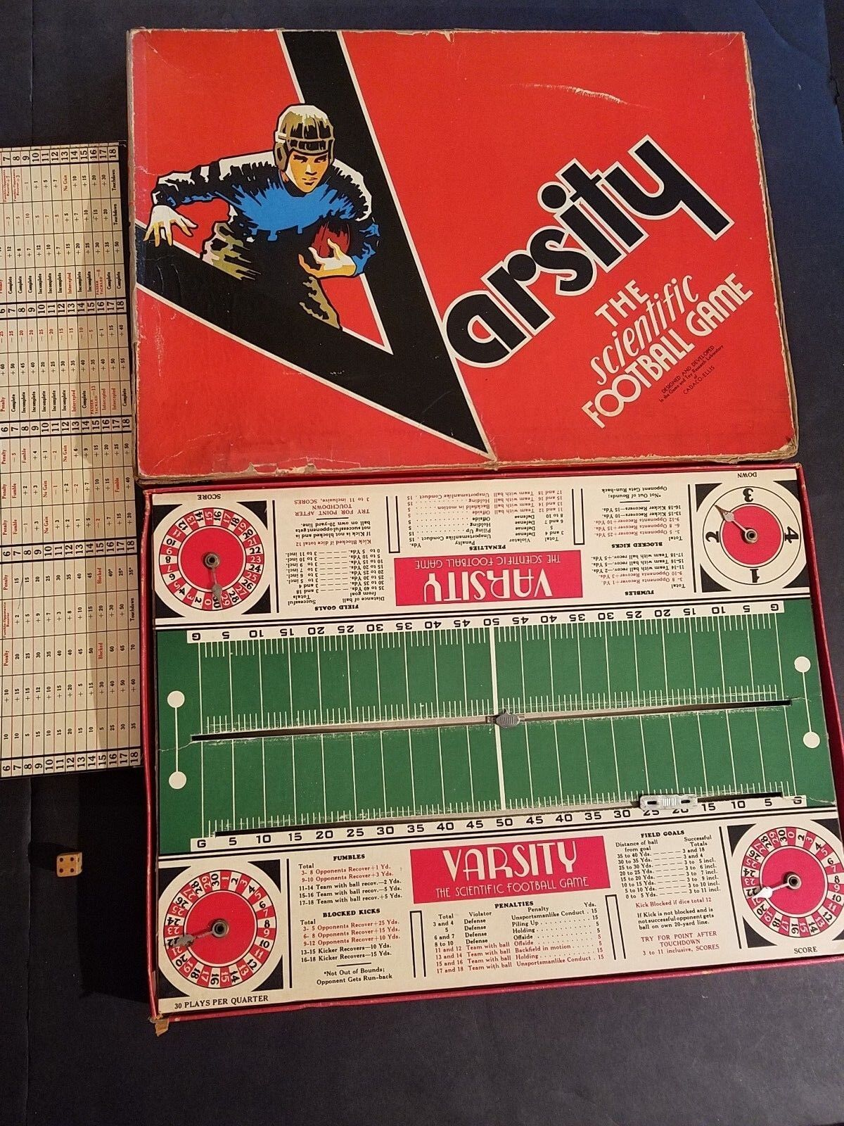 Vintage VARSITY FOOTBALL Game Complete In Original Box By Cadaco-Ellis 1945