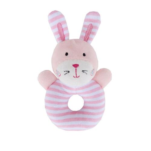 Unisex Newborn Infant Baby Animal Rattles Ring Plush Toys Handbell Grab Gift WO