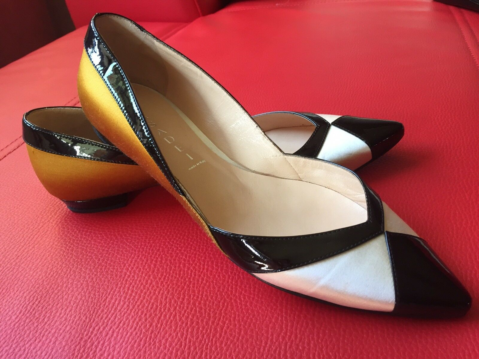 Casadei Ballerinas Schuhe Leder Satin Spitz Gr. 38     b5a331