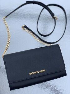22f8c9af2e27 Michael Kors Jet Set Travel Large Leather Wallet Phone Crossbody Bag ...