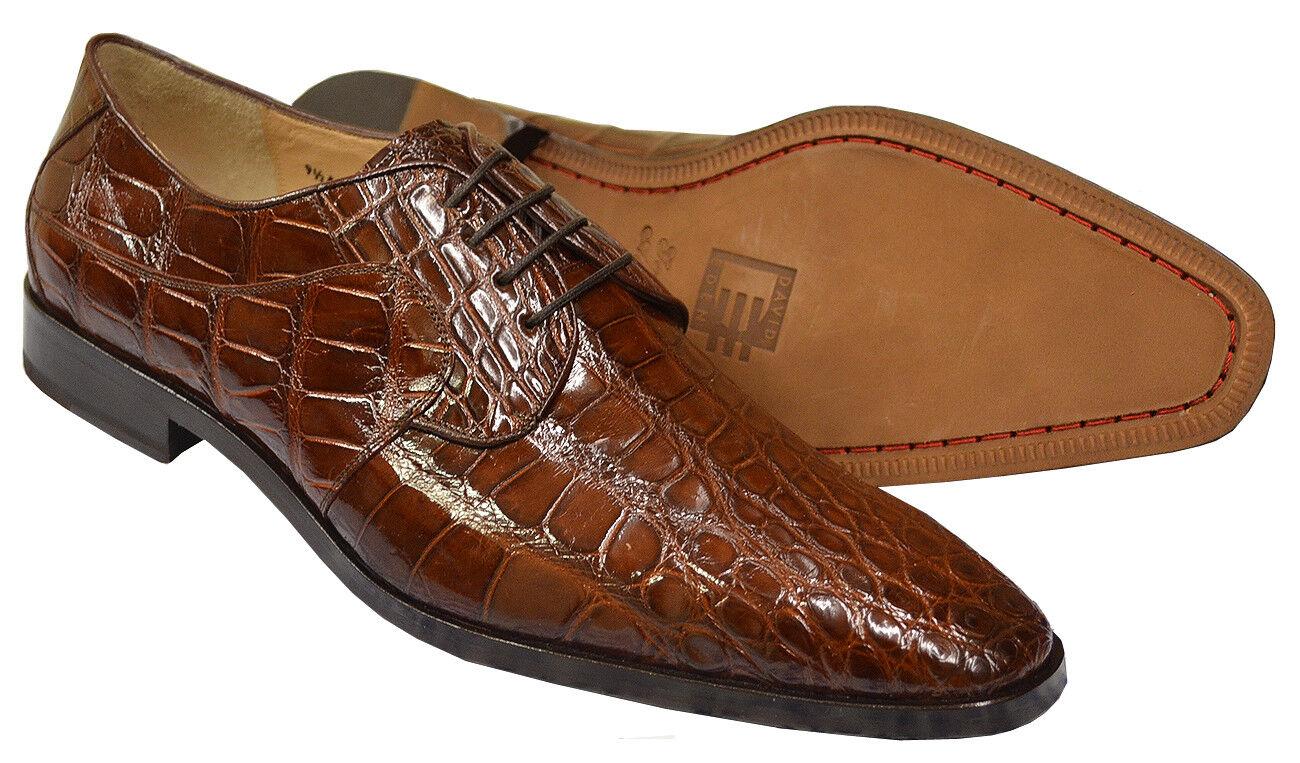 David Eden gold Cognac Alligator Belly Skin Fashion Dress shoes Size 9.5