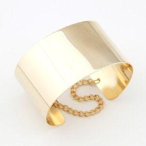 Armreif-4-cm-breit-Metall-Armspange-mit-Kette-Armband-gold-farbig-glanzend-NEU