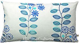 Jane-Churchill-Juno-Bordado-disenador-Tela-Floral-Azul-Cojin-Funda-De-Almohada