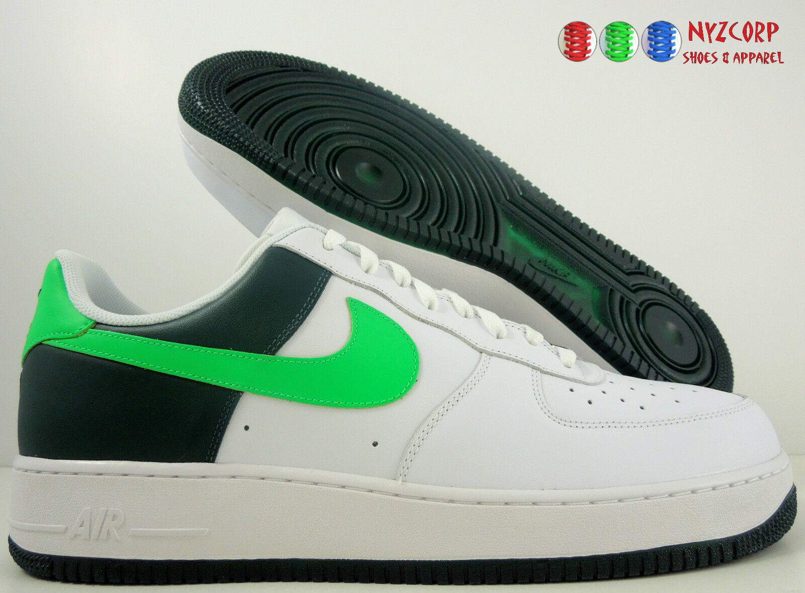 a0e8b46be8b09 NIKE AIR FORCE 1 07 WHITE-BRIGHT KIWI-DARK PINE PINE PINE SZ 15 ...