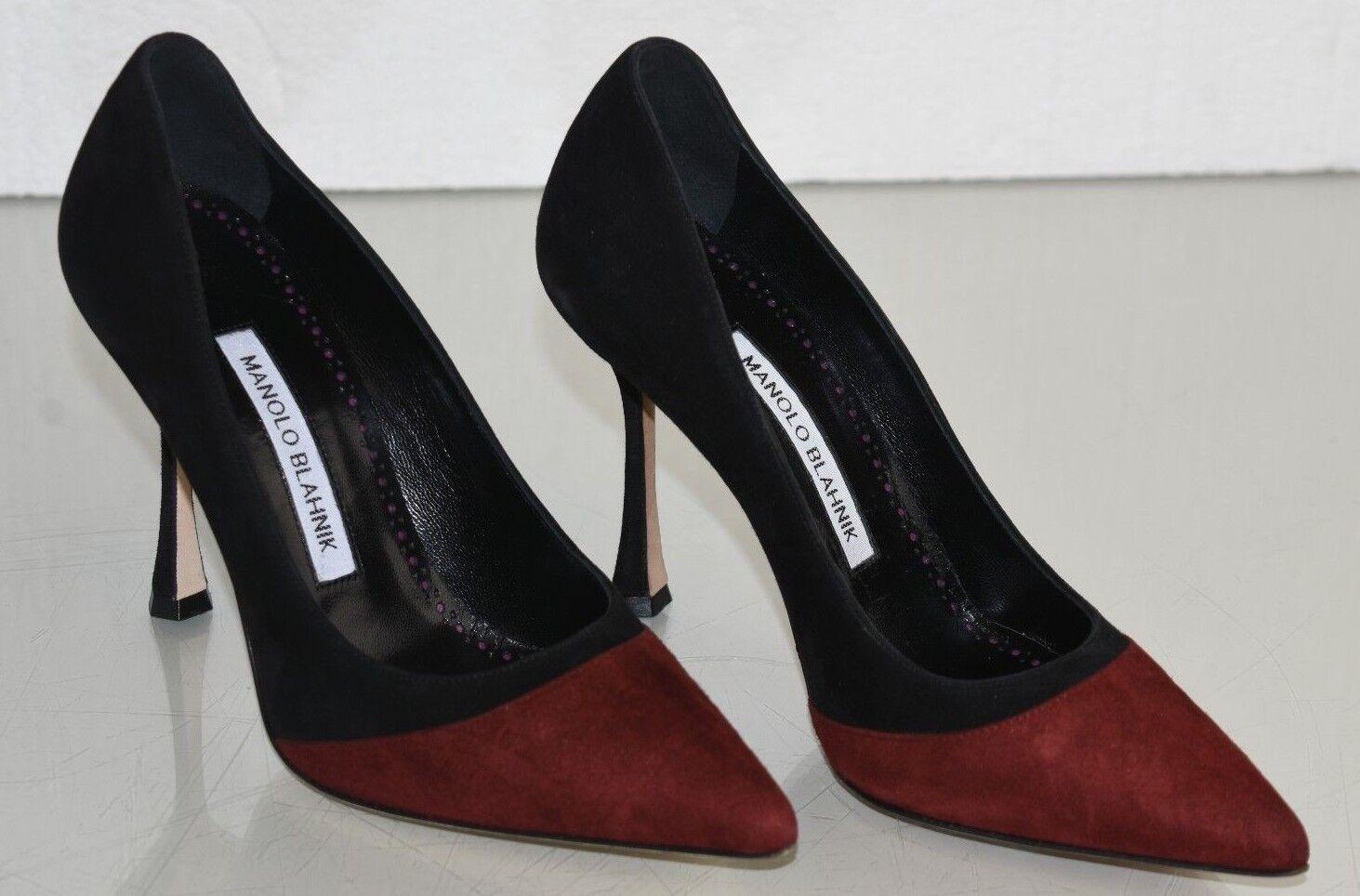 825 NEW Manolo Blahnik BILANDANA BB Black Wine Burgundy Suede shoes 35 40.5 41.