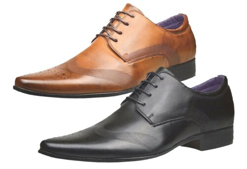 Mens Fashion New Brown Black Leather Shoes Formal Smart Wedding Dress Brogues UK