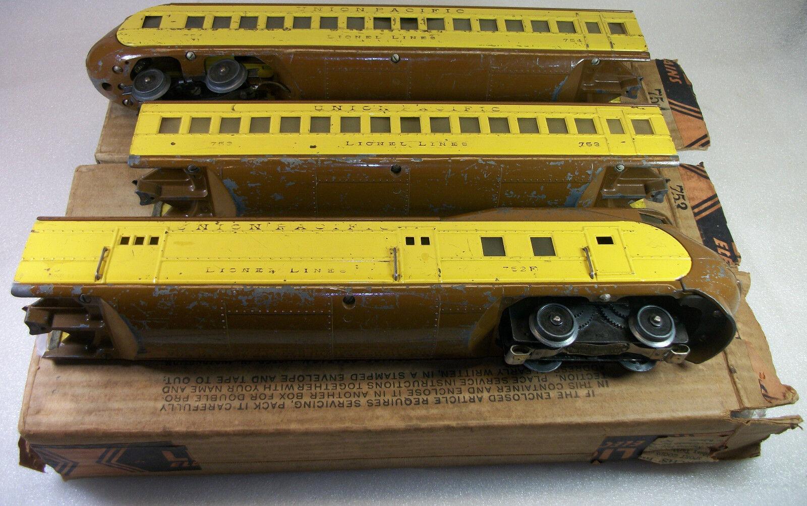 Lionel preguerra 751E M-1000 Up Conjunto de tren de pasajeros muy bien en cajas originales