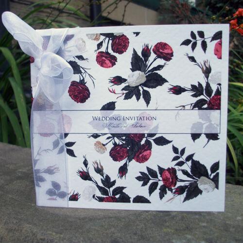 Vintage Personalised Wedding Invitations ribbon day or evening envelopes