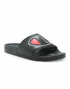Champion-Life-Slides-Sandals-Women-039-s-IPO-Black-Lightweight-Embossed-Big-C-Logo