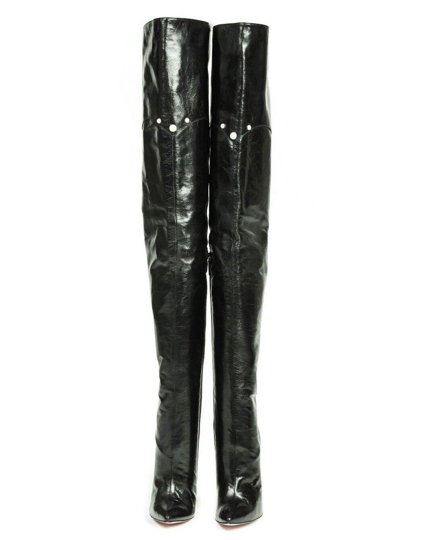 MORI HIGHEST HEELS OVERKNEE Stiefel Stiefel OVERKNEE STIEFEL STIVALI LEATHER PEARLS BLACK NERO 42 deb162