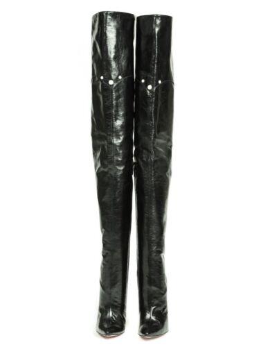 ginocchio Nero Stiefel Mori alti 41 in Tacchi Perle Stivali sopra pelle il Nero Stivali S77XCTHqw
