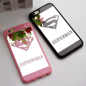 Superman-Superwoman-Mirror-Surface-Soft-Case-Cover-For-iPhone-X-8-6-7-Plus-5s-SE