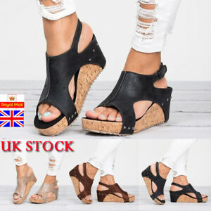 34ae55a49a7704 Image is loading Womens-Summer-Wedge-High-Heel-Platform-Espadrille-Sandals-