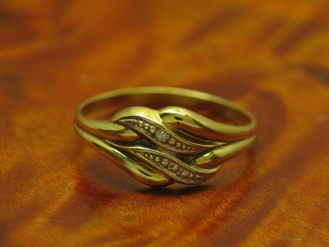 8kt 333 yellowgold Ring mit Diamant Besatz   1,0g   RG 53,5