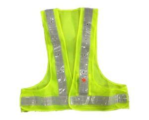 AdirPro Green Reflective Flame Resistant Flashing LED Light Safety Vest