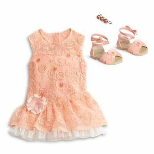 "American Girl peach Lace Party Dress outfit set shoes for 18"" dolls NEW hairclip"