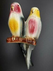 VINTAGE-ROYAL-COPLEY-DOUBLE-CERAMIC-PARAKEET-BUDGIE-WALL-POCKET-W-GOLD-ACCENTS