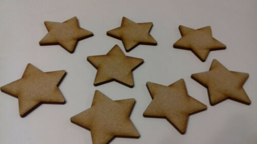 Pack of 50 Laser Cut 2 3 4mm Thick MDF Wooden Rounded Stars Various Sizes Choose