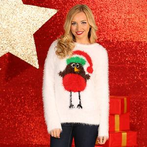 Navidad-Tienda-Mujer-s-Robin-de-puntilla-Hilo-Jersey-De-Punto-Talla-XS-XL